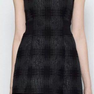 A L C Black jacquard plaited dress
